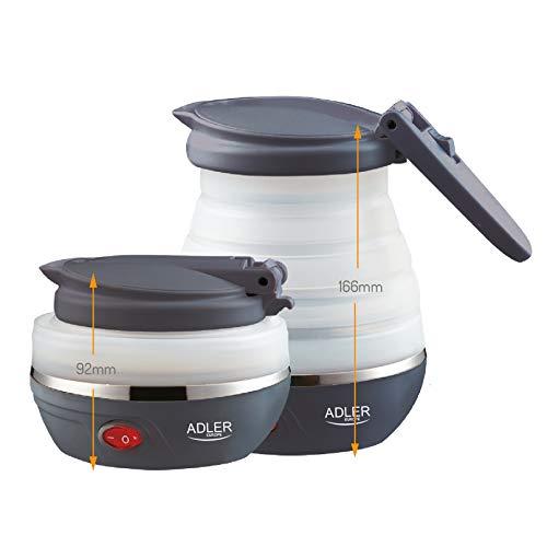 Adler AD1279 Hervidor de Agua Electrico Plegable, 0,6L, 750W, Libre de BPA, 750 W, 0 6 litros, 0 Decibelios, plastico, Blanco/Gris Oscuro
