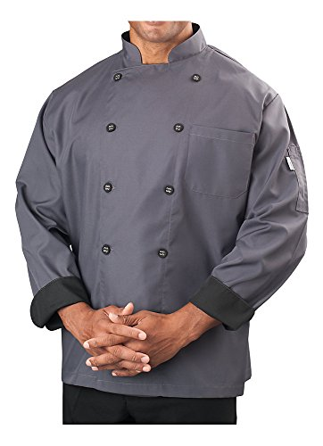 Long Sleeve Chef Jacket - KNG Mens Long Sleeve Active Chef Coat, Slate with Black Accent, XL