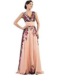 Floral Print Graceful Chiffon Prom Dress for Women (Multi-Colored),V-neck,16