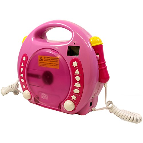 IQ Toys Portable Sing Along CD/USB/SD Player Anti Skip, with 2 Microphones & AC Adapter ( Pink) by IQ Toys (Image #1)