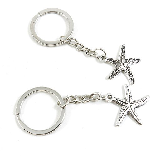Starfish Clasp (50 Pieces Keychain Keyring Door Car Key Chain Ring Tag Charms Bulk Supply Jewelry Making Clasp Findings P1VQ9H Starfish Sea Star)