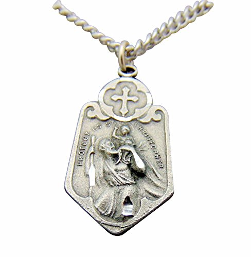 Saint Christopher Pewter Travel Medal Pendant 1 1/8 Inch Ornate on 24 Inch Stainless Steel Chain Gift