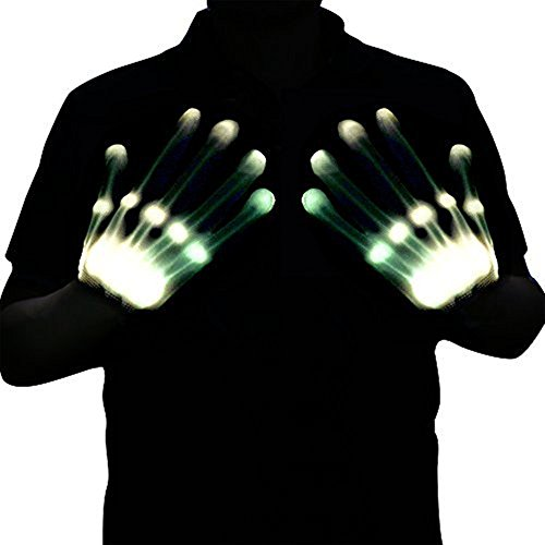 Skeleton Costume Accessories (Led Dancing Skeleton Gloves, Hand Flashing Light Shows Halloween Costume, Novelty Christmas Gift (White))