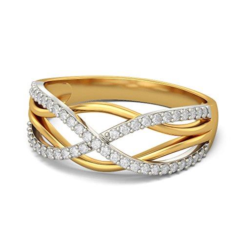 Or jaune 18K, 0,23carat Diamant Blanc (IJ   SI) en diamant