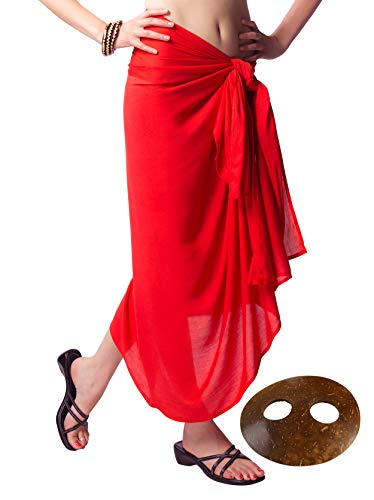 (1 World Sarongs - Sarong and Sarong Tie - Womens Fringeless (TM) Swimsuit Cover-up Solid Sarong in Red)