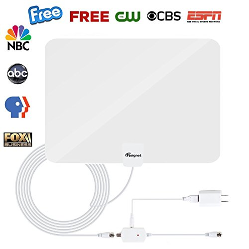 TV Antenna, Reignet 50 to 70 Mile Range Amplified Indoor HDTV Antenna with Detachable Amplifier Signal Booster and 16.5FT Coax Cable - Shiny White (50 White Tv)