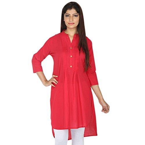 Chichi Indian Women Kurta Kurti 3/4 Sleeve Large Size Plain Short Red Top by CHI