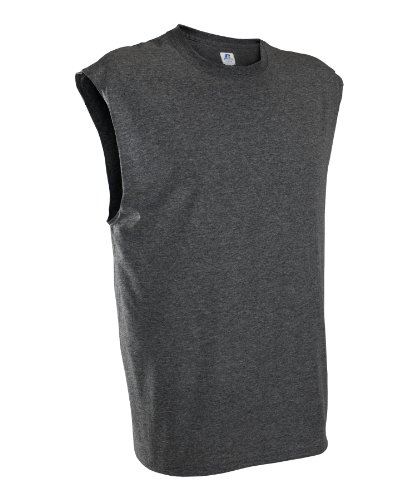 Russell Athletic Men's Basic Cotton Muscle Tee, Black Heather, Large