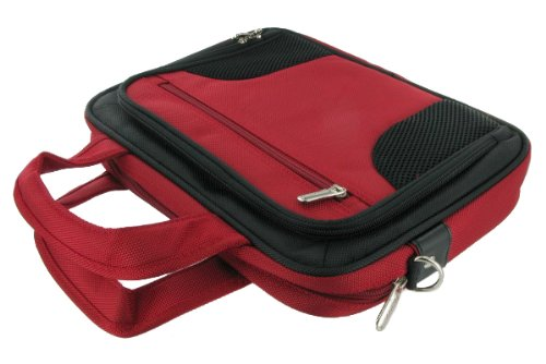 Shell Sea Asus (rooCASE Netbook Carrying Bag for ASUS 10.1-Inch Eee PC 1015PEM Seashell White Netbook - Deluxe Black / Red)