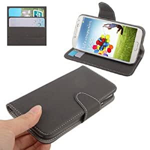 Cloth Texture Horizontal Flip Magnetic Buckle Leather Case with Credit Card Slots & Holder for Samsung Galaxy S IV / i9500 (Grey)