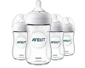 Philips Avent Natural Baby Bottle, Clear, 9 Oz, 4 pack, SCF013/47
