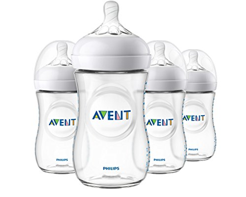 Philips Avent Natural Baby Bottle, Clear, 9oz, 4pk, SCF013/47 (Neck Wide Polypropylene Bottle)