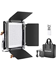 Neewer Advanced 2.4G 480 LED Video Light, Dimmable Bi-Color LED Panel with LCD Screen and 2.4G Wireless Remote for Portrait Product Photography, Studio Video Shooting with Metal U Bracket and Barndoor
