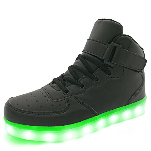 APTESOL Kids Youth LED Light Up Sneakers Boys Girls High Tops Cute Cool Flashing Shoes Halloween Xmas School Party Dancing Shoes, Black, 9 M US Toddler]()
