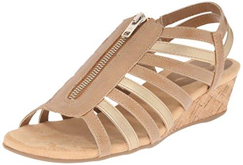 Aerosoles A2 by Women's Yetaway Wedge Sandal Tan Gold GnpBFx1Zjq