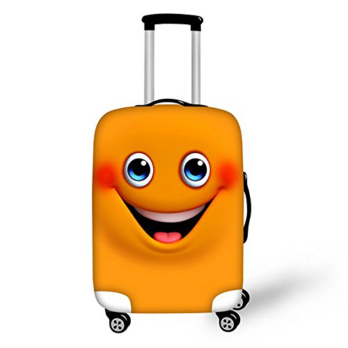 FOR U DESIGNS 18-22 Inch Small Shy Smile Face Emoji Design Soft Luggage Cover for Kids - 18 Inch Smile Face