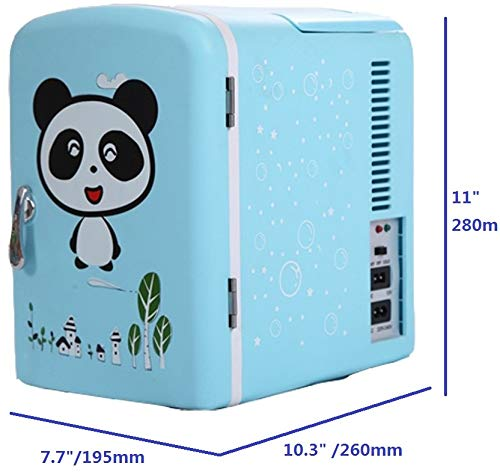 4L 6Can Panda Blue Mini Refrigerator Ship from US Portable Fridge Warmer,Bedroom Mini Fridge For Bedroom,Electric Cooler for Car Refrigerator For Car,Office Refrigerator For Office