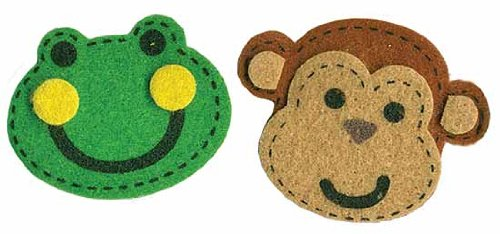 Fun Self Adhesive Dimensional Felt Monkey and Frog Face Stickers for Crafting and Embellishing- Package of ()