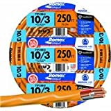 SOUTHWIRE 63948455 Romex Nm-B Non-Metallic Sheathed Cable with Ground, 10/3, 250' per roll