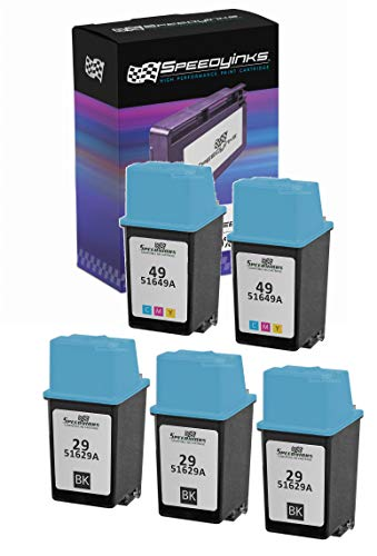 Speedy Inks - 5PK Remanufactured Replacement for HP 29 HP 49 51629A 51649A 3 Black & 2 Tri-Color Ink Cartridge Set
