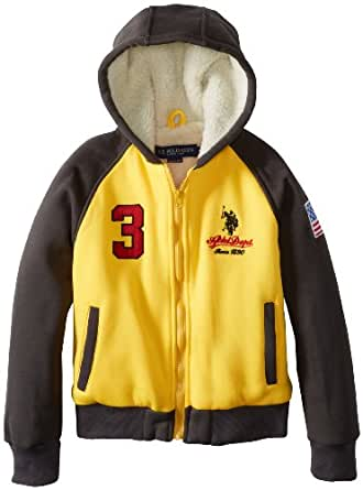 U.S. Polo Association Big Boys' Fleece Jacket with Sherpa Hood and Body Lining, Egg Yolk, 8