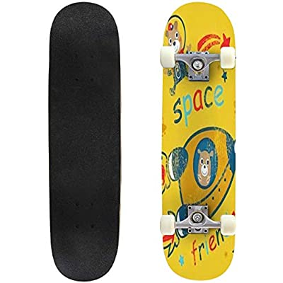 Classic Concave Skateboard Cartoon Vector Illustration of Space for Children Hand Drawn Longboard Maple Deck Extreme Sports and Outdoors Double Kick Trick for Beginners and Professionals : Sports & Outdoors