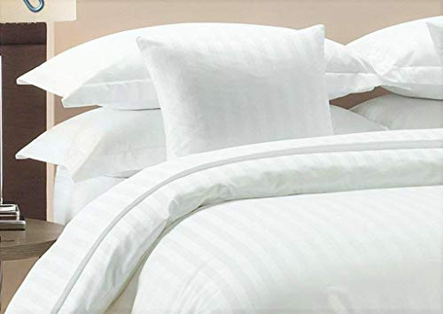 Duvet Cover Set With Zipper Closure 3pc Duver Cover Set Oversized Super King (120'' x 98'') Size With Corner Ties,100% Egyptian Cotton 1000 Thread Count (Oversized Super King Size White Stripe) (And Brown Duvet Cover Striped White)