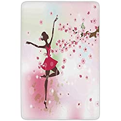 Bathroom Bath Rug Kitchen Floor Mat Carpet,Kids Room,Ballet Butterfly Fairy Ballerina Princess Dancer Flowers Tree Branch Floral Girls Party Print Decorative,Flannel Microfiber Non-slip Soft Absorben