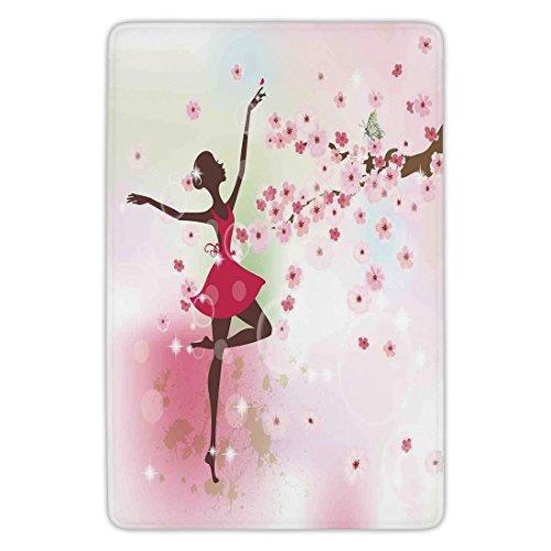 Bathroom Bath Rug Kitchen Floor Mat Carpet,Kids Room,Ballet Butterfly Fairy Ballerina Princess Dancer Flowers Tree Branch Floral Girls Party Print Decorative,Flannel Microfiber Non-slip Soft Absorben