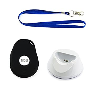 Image of AMG Sicherheitstechnik Mobile Emergency Call Button for Elderly incl. GPS Transmitter, Care kit with Emergency Button, Senior Citizen Radio System for on The go, Splash-Proof.