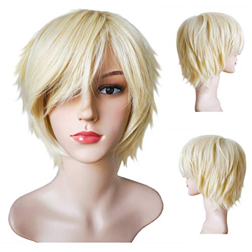 Another Me Women Men's Layered Short Straight Wig Light Blonde Hair Heat Resistant Fiber Wig Party Cosplay Accessories]()