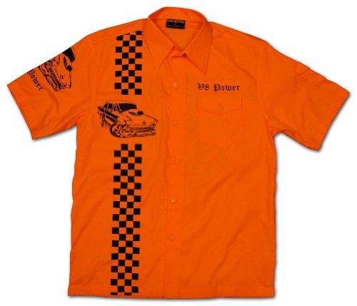 Chaquetero-Original-Mens-V8-Power-American-Muscle-Car-Worker-Shirt-Orange