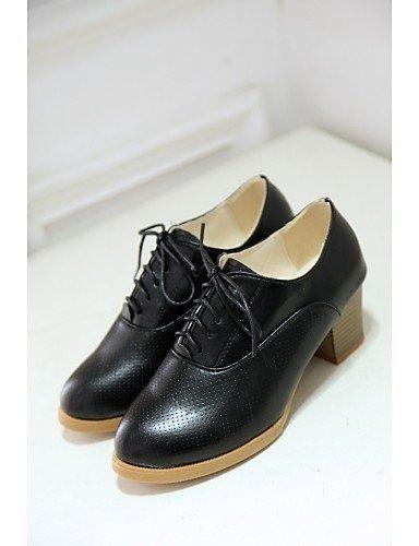 Talons Bureau Blanc Chaussures us6 Gros Talon Black Hug Femme Habillé Njx Similicuir Décontracté Cn36 Travail Eu36 Noir amp; Uk4 z7x4Sqt