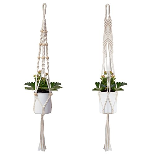 Plant Hangers, Kearui 42 inches Cotton Fabric Macrame Hanging Planter with wooden Beads for Indoor Outdoor Decorations, Set of 2