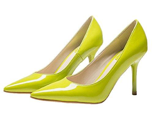 HooH Women's Pointed Toe Stiletto Dress Pump 1485 Yellow 89bzrCX