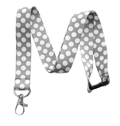 - Break Away Large Polka Dot Print Lanyard Key Chain Id Badge Holder (Gray)