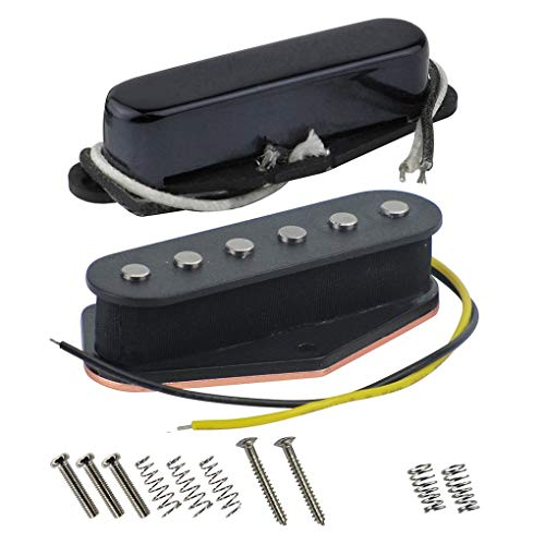 FLEOR Alnico 5 Guitar Pickups Set Tele Bridge Pickup w/Neck Pickup (Black) Fit Fender Telecaster Pickups - Cover Bridge Telecaster
