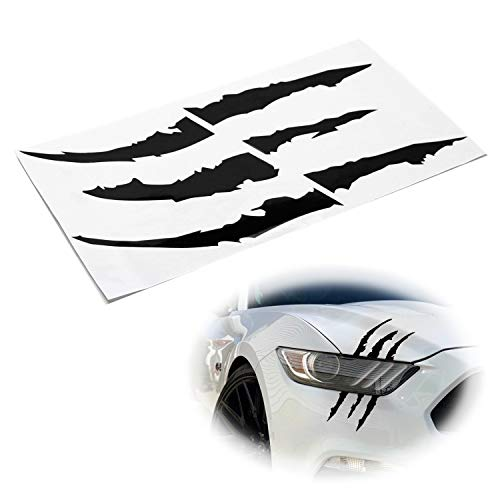(iJDMTOY (1) Reflective Black Headlight Eye Scar or Claw Scratch Shape Vinyl Decal Set For Car Truck SUV)