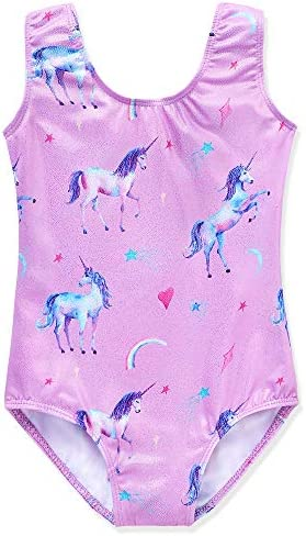 ZIZI Little Girls Sparkle Dance Tumbling Running Gymnastics Unicorn Short 5-6T