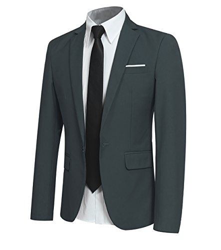 Men' Slim Fit One Button Blazer Jacket Casual/Party Sport Coat (Green, XX-Large)