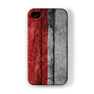Grunge Wood Flag of Indonesia - Indonesian Flag Funda Completa de Alta Calidad con Impresión 3D, Snap-On, Diseño Negro Formato Duro parar Apple® iPhone 4 / 4s de UltraFlags