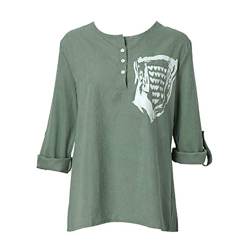 GOVOW Autumn Blouses Plus Size Women Fashion Long Sleeve Pocket Printed Blouse Tops T Shirt(US:8/CN:L,Green)