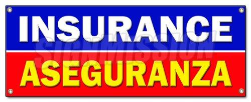 Insurance ASEGURANZA Banner Sign Salesman Agent auto Health Policy Bilingual