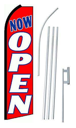 "NEOPlex - ""Now Open Red White Blue (Extra Wide)"" Complete Flag Kit - Includes 12' Swooper Feather Business Flag With 15-foot Anodized Aluminum Flagpole AND Ground Spike"
