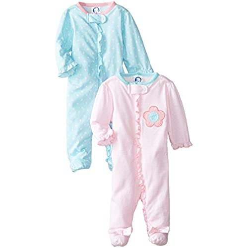 Gerber Baby Girls 2 Pack Zip Front Sleep n Play,Flower,0-3 Months