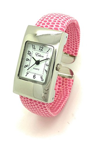 Ladies Small Rectangle Snakeskin Leather Bangle Cuff Watch White Dial Eikon (Pink)