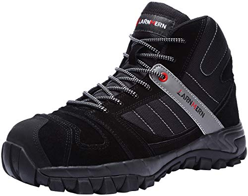 LARNMERN Mens Work Boots,LM-1702 S3 SRC Composite Toe Safety Shoes Non Slip Lightweight Reflective (8 D(M) US, Black)