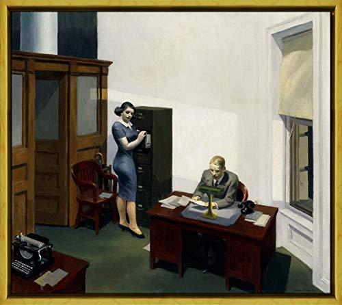 Berkin Arts Framed Edward Hopper Giclee Canvas Print Paintings Poster Reproduction(Office at Night) #XLK