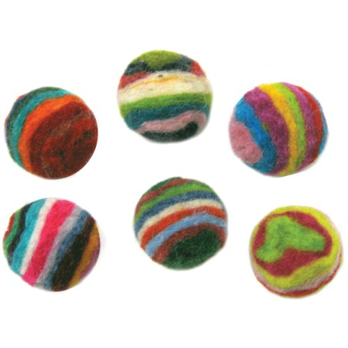 Dimensions Felt Embellishments, Striped Balls Felt Wool Embellishments