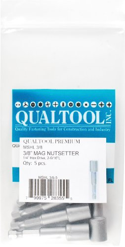 Nutsetter 0.375 Magnetic - Qualtool Premium MSHL3/8-5 Magnetic 3/8-Inch Hex Long Nutsetter, 5-Pack